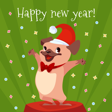 Cartoon card for New Year with a cute pug. Vector illustration.