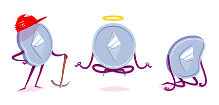 Set of ethereum character in the different situations. Vector cartoon illustration. Illustration