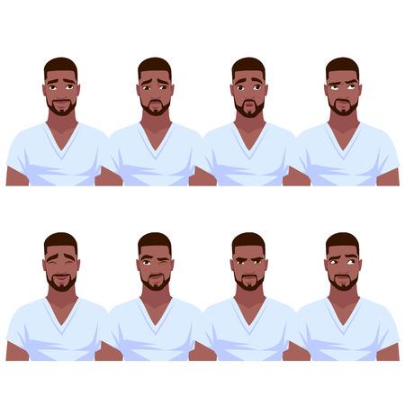 Set of African American man's emotions. Vector cartoon illustration. Illustration