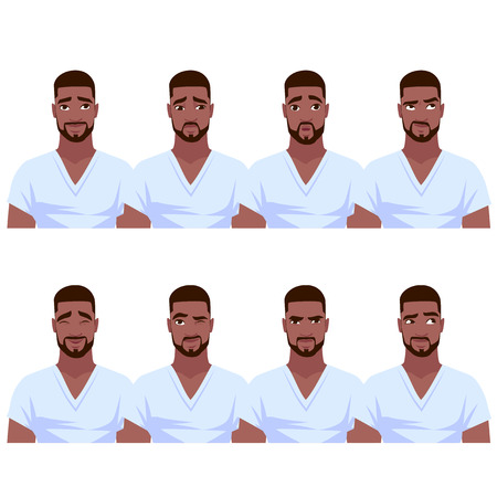 Set of African American man's emotions. Vector cartoon illustration.