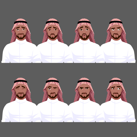 Set of Muslim mans emotions. Vector cartoon illustration.