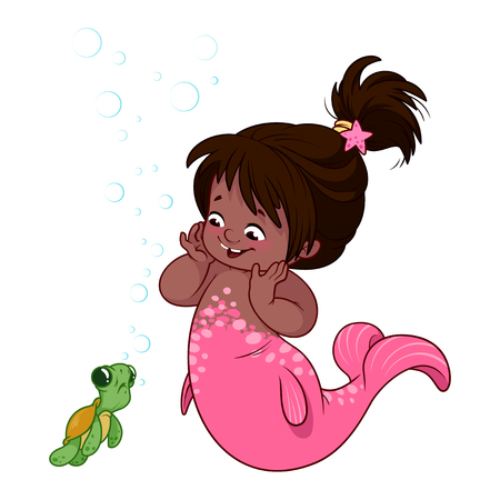 Cute little mermaid with funny turtle. Cartoon vector illustration.