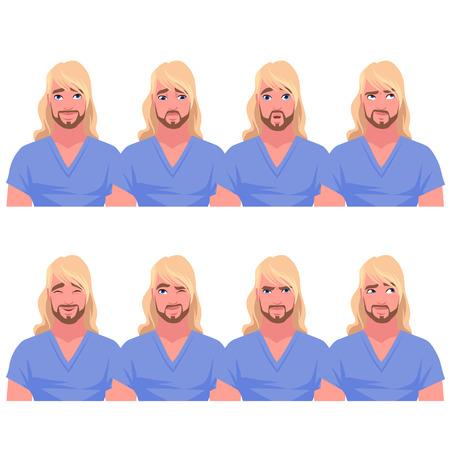 Set of blonde man's emotions. Vector cartoon illustration. Stock Illustratie