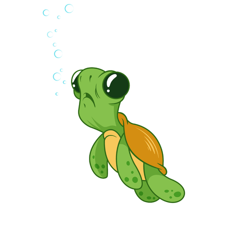 Cute funny turtle with bubbles. Cartoon vector illustration. Stock Illustratie