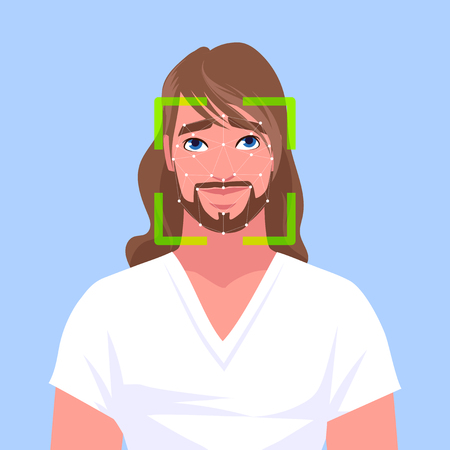 Face identification of the handsome white man. Vactor cartoon illustration.