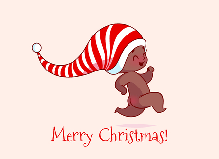 Christmas card with a funny african american baby. Vector cartoon illustration.