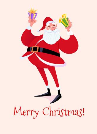 Christmas card with a Santa Claus. Vector cartoon illustration. Stock Illustratie