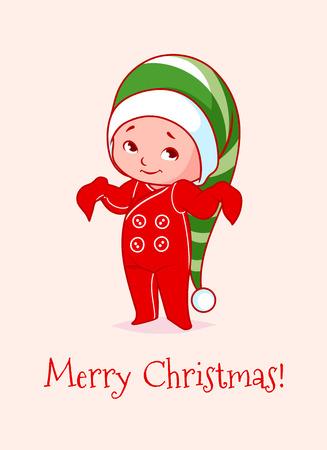 Christmas card with a funny cute baby. Vector cartoon illustration.