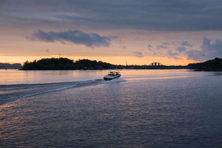 Evening on the river of the Dnieper.