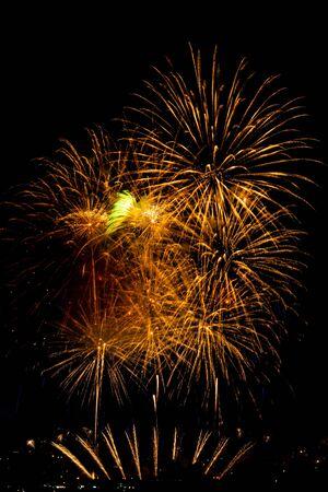 Fireworks of the festivities of Bouzas, in Vigo (Spain) on a beautiful summer night Archivio Fotografico