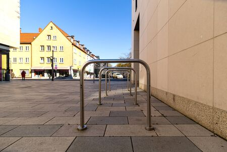 Bicycle parking. Parking space under the shopping center. Urban infrastructure. Ecological transport. Metal constructions.