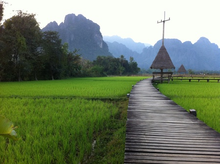 view: Good view in Vangvieng Stock Photo