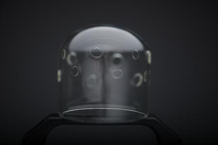 The cap of cinema spotlight isolated on black background photo