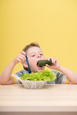 plateful: Half-length portrait of lovely little fair-haired funny boy wearing T-shirt sitting at the table wanted to bite the cucumber dawdling in the plateful of lettuce