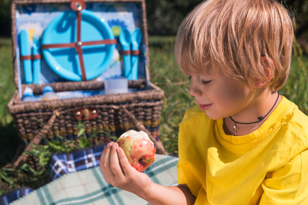 Selective focus on little fair-haired boy wearing yellow T-shirt eating very delicious apple sitting on the nice plaid near the wicker basket for picnic standing on background photo