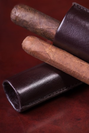Wonderful Cuban cigar lying in the brown leather cigar case on the wooden table photo