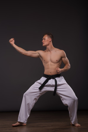 bare chested: Full-length portrait of young handsome fair-haired bare-chested karate enthusiast standing aside asking someone to take his challenge. Isolated on the dark background Stock Photo