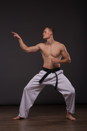 barechested: Full-length portrait of young handsome fair-haired bare-chested karate enthusiast standing aside asking someone to take his challenge. Isolated on the dark background Stock Photo