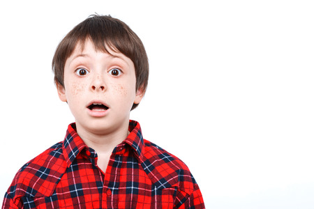 mouth opened: Portrait of a small boy looking very surprised holding his mouth opened wearing checkered shirt isolated on white background