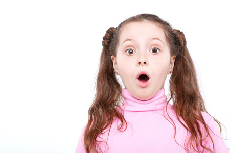 mouth opened: Portrait of a small girl looking very surprised holding her mouth opened wearing pink turtleneck isolated on white background Stock Photo