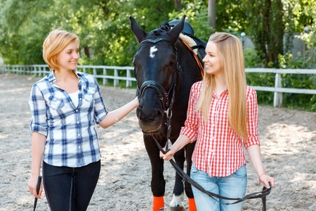 brisk: Lets ride. Smiling sisters touching the horse and looking at it while standing nearby.