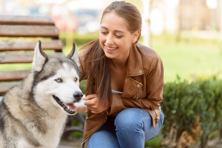 female animal: Animal lover. Happy attractive blissful young girl touching dog and playing while expressing gladness Stock Photo