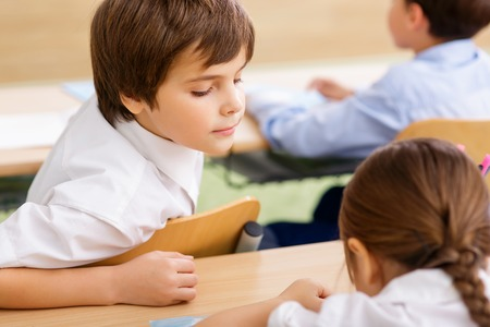 peep: Little peep at. Little schoolboy turns around to look at other girl notes