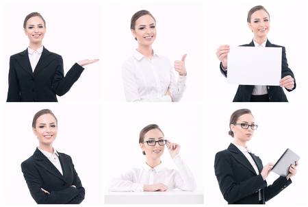 womankind: Appealing businessperson. Collage of young attractive smiling woman with different objects like paper or tablet isolated on white background.