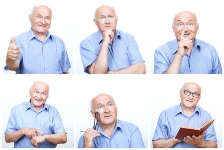 hombre viejo: Divirti�ndose. Collage del hombre mayor usando variedad de gestos e imita durante la sesi�n de fotos.