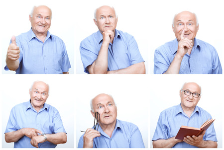 old man: Having fun. Collage of  senior man using variety of gestures and mimics during photoshoot.