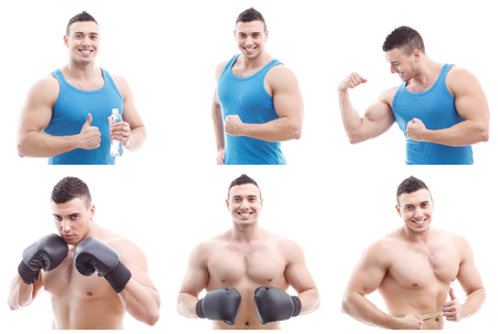 gladly: Muscular man. Collage of professional young nice looking sportsman is smiling and posing gladly. Stock Photo