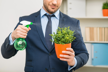formality: Friend of nature. Close up of flower pot in hand of pleasant handsome male office worker holding it while watering