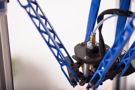 3d printer: Smart technologies. Close up of detail of 3d printer