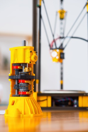 3d printer: Close up of model printed on 3d printer standing on the table Stock Photo