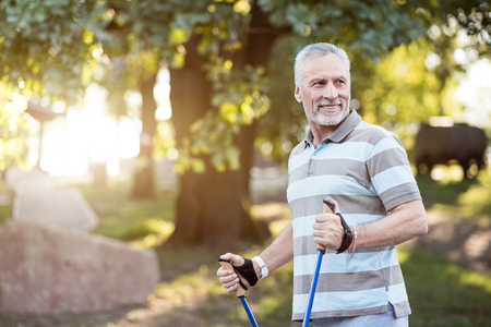 Recreation. Well fit senior citizen getting ready for a walk Stock Photo