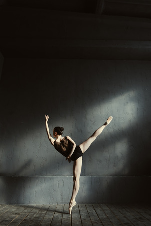 diligent: Principal dancer performing. Elegant young proficient ballet dancer performing isolated in the dark lighted room and standing on the tiptoe while expressing elegance and femininity Stock Photo