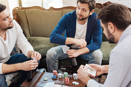 manhood: Pleasant male friends entertaining themselves