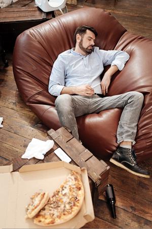 manhood: Nice bearded man being asleep