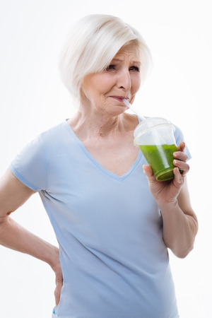 pensioner: Beautiful pensioner female making a face Stock Photo
