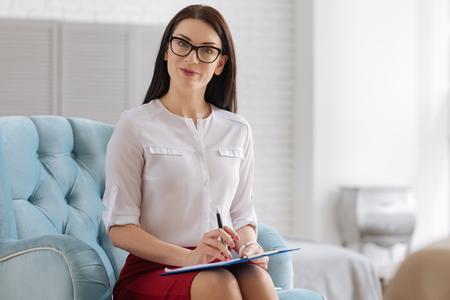 self employed: Pleasant self employed woman smiling