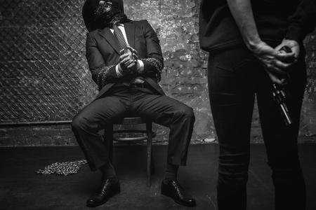 tortured: Miserable tortured man begging not hurting him
