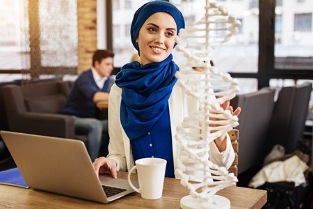 Positive muslim student learning genetics