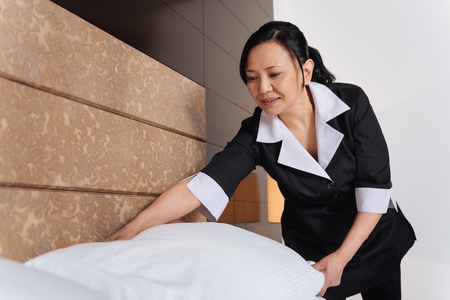 hotel staff: Nice pleasant woman working in the hotel room
