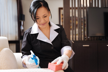 Good looking delighted hotel maid using the sponge