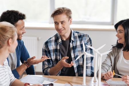 Nice handsome men having a conversation Stock Photo