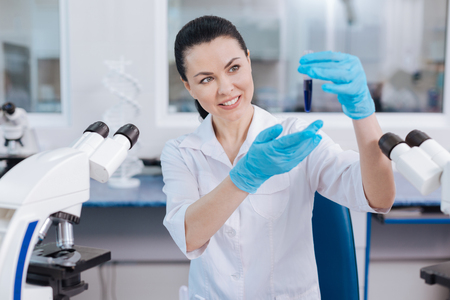 medical laboratory: Attractive lab assistant turning her head aside Stock Photo