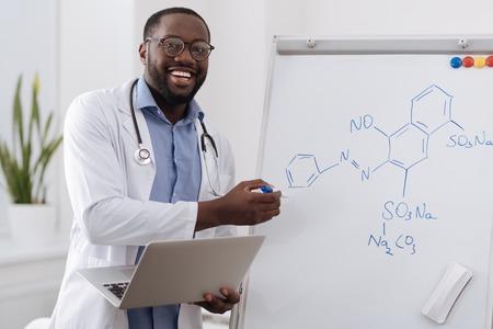 Intelligent smart chemist showing you a chemical formula