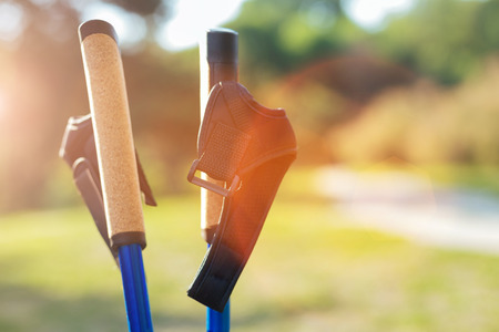 Close up of poles for Nordic walking Stock Photo