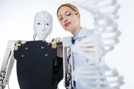Motivated enthusiastic woman developing new concept of artificial intelligence