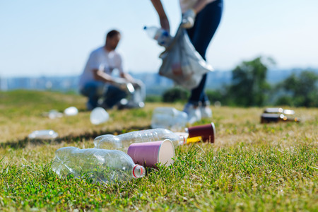 Devoted energetic people collecting litter on a grass